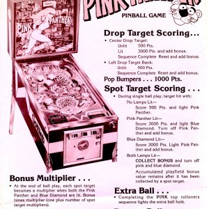 Pink Panther (Gottlieb, 1981) mono flyer-back